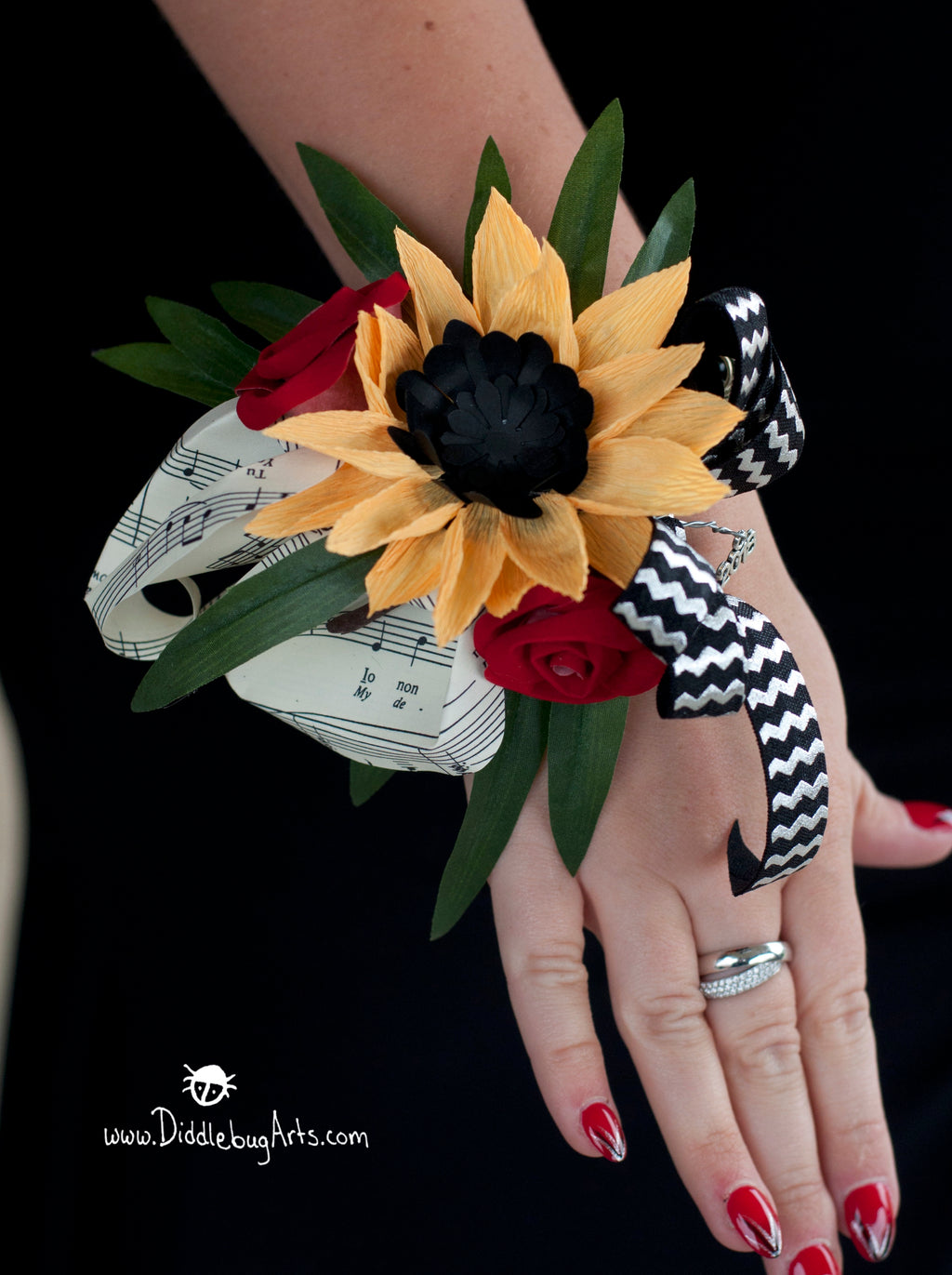 Paper Sunflower, Sheet Music/Book Page Calla Lily, Rose Bud Wrist Corsage