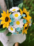 READY TO SHIP - Sunflower, Daisy, Forget-Me-Not Paper Bouquet