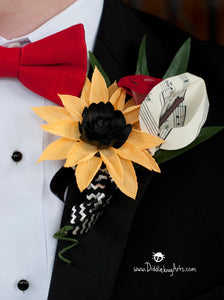 crepe paper sunflower and calla lily boutonniere