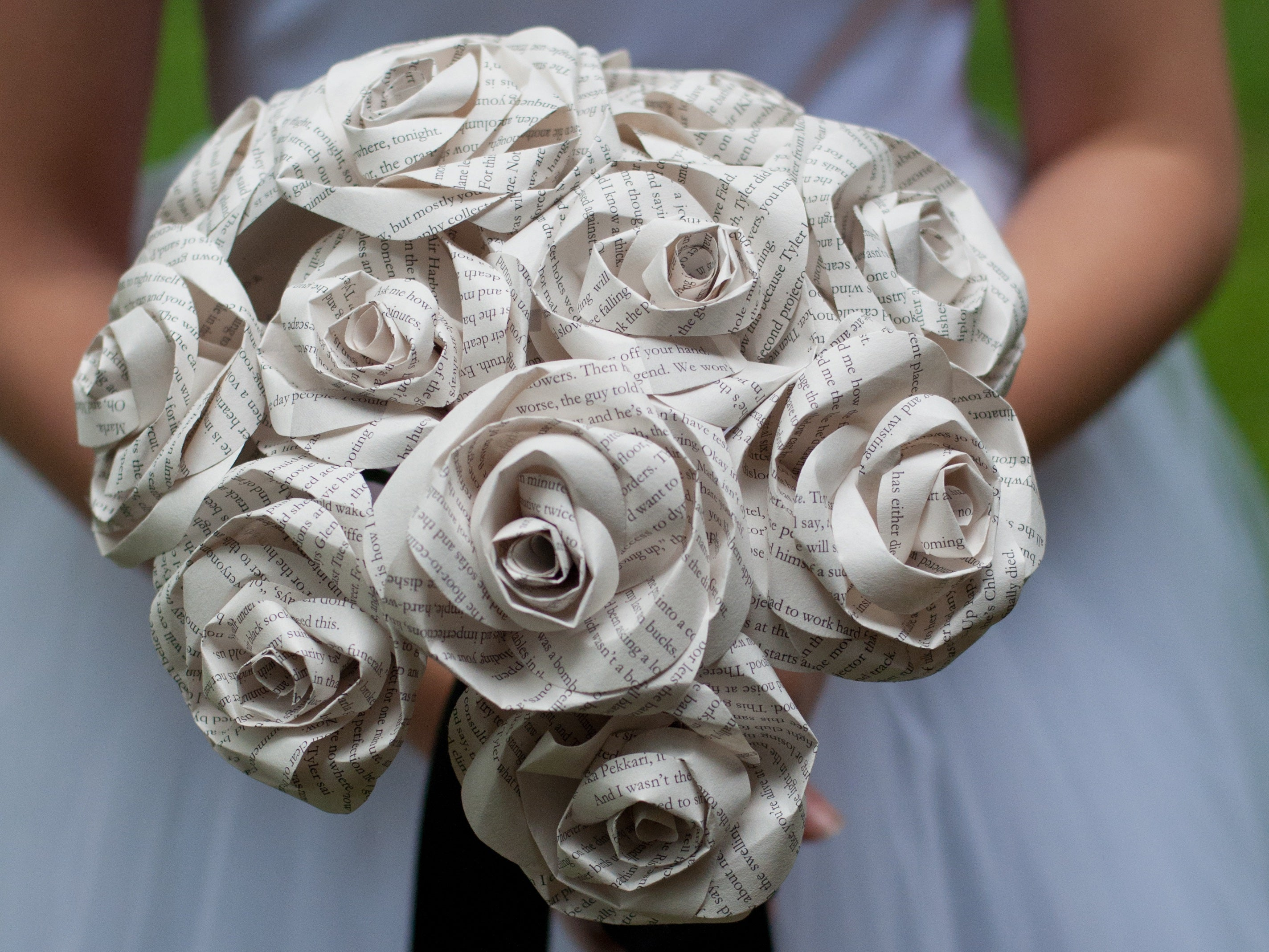 wedding bouquet made of book page roses