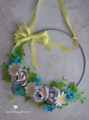 Paper roses and daisies Winnie the Pooh Baby Room Decor Wreath