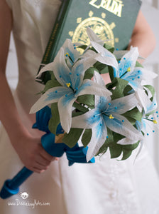 Legend of Zelda video game inspired wedding bouquet with sword handle
