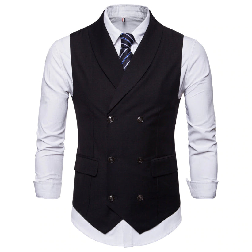 Collared Double Breasted Vest