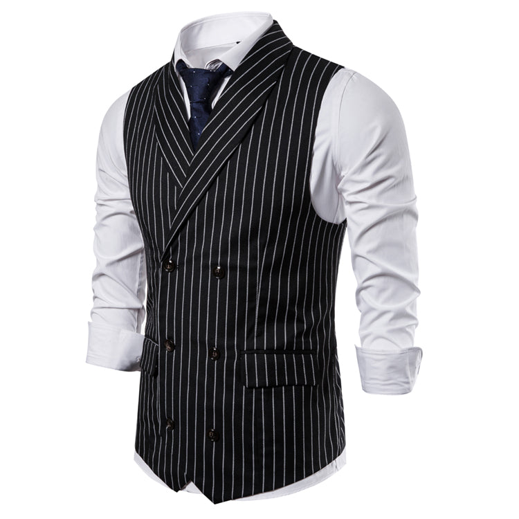Aleardo Double-Breasted Striped Vest With Wide Lapel