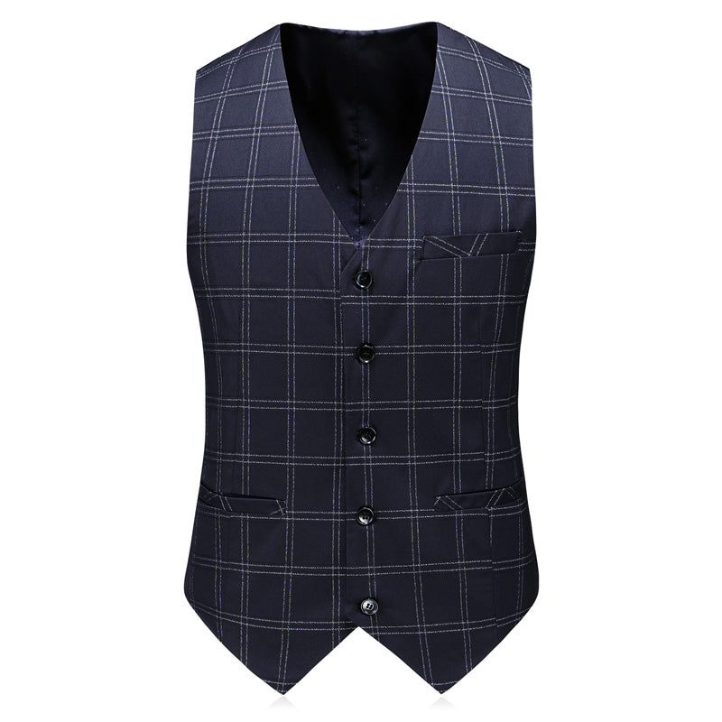 3 Piece Navy Blue Plaid Suit