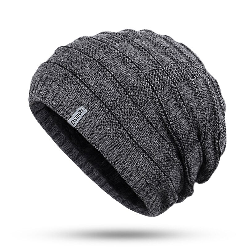 Horizontal Striped Knit Beanie