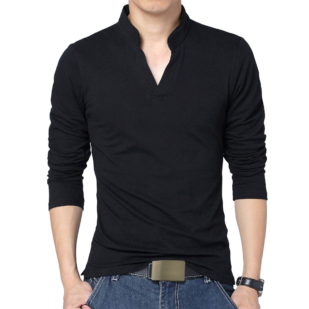 Long Sleeved V-Neck Polo Shirt