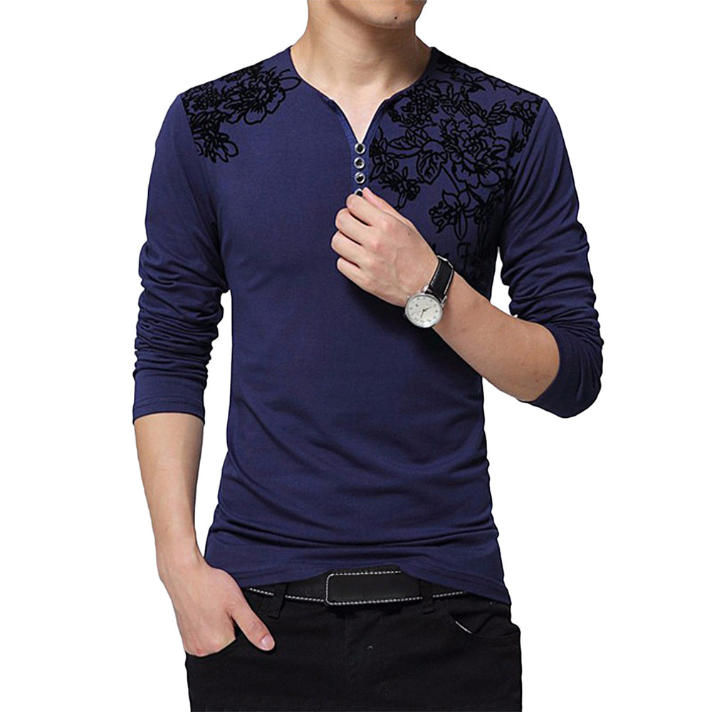 Decorated Long Sleeved Henley