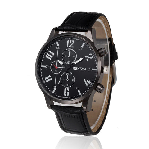 Men's Leather Business Casual Watch