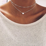 Double Chain Love Pendant Necklace