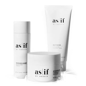 as|if Freshstart 3 Step Regimen, cleanse, exfoliate, moisturize for radiant skin!