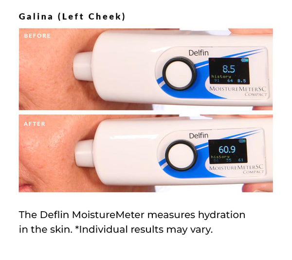 Images show the skin's level of hydration before and 30 minutes after product application.
