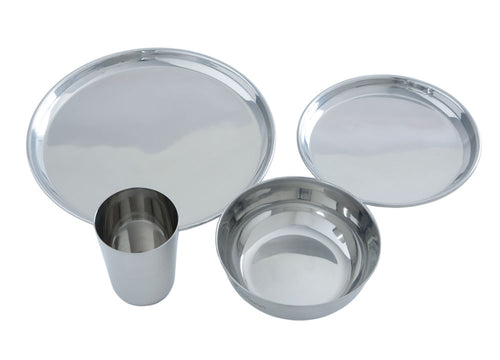 4 piece Dinnerware Set - Stainless Steel
