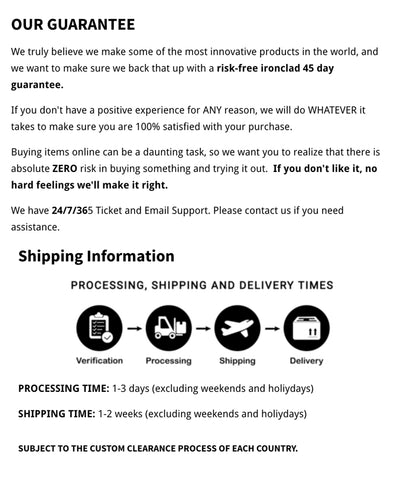 website support and shipping policy