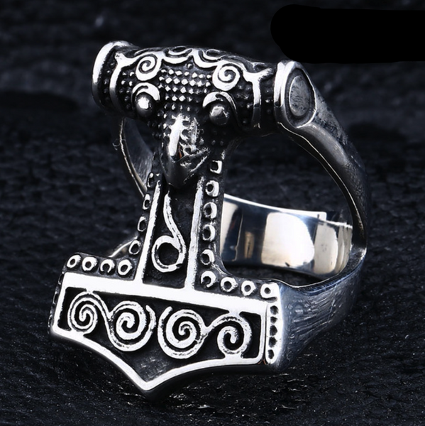 Sterling Silver Mjolnir Ring-Viking Caulking-Viking Caulking