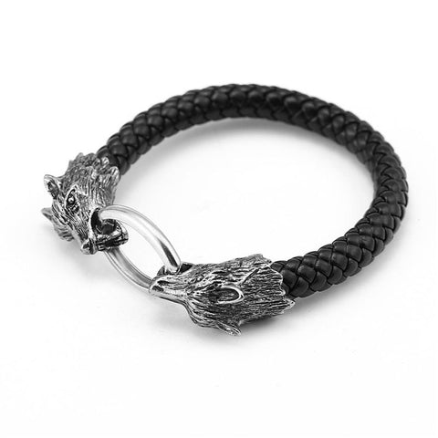 Leather Wolf Bracelet-Viking Caulking