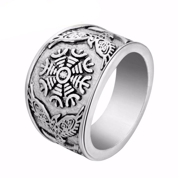 Helm of Awe and Ravens Ring - Sterling Silver-Viking Caulking