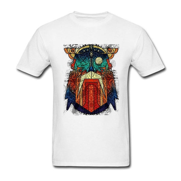 Geometric Modern Odin Vikings T Shirt white