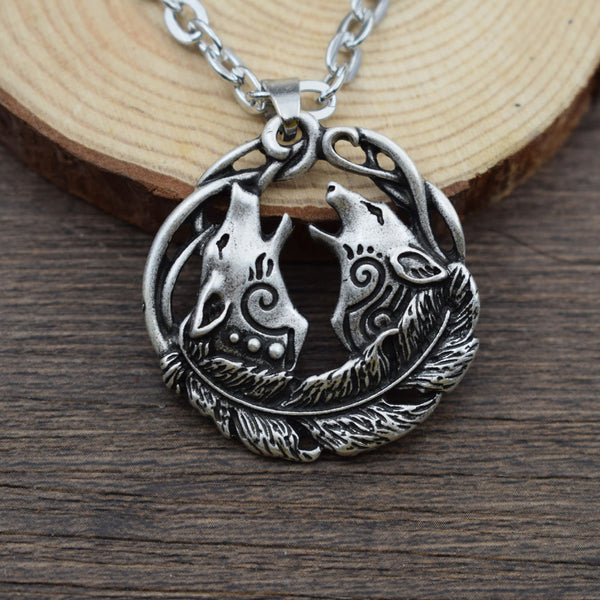 Norse Wolf Couple Pendant-Viking Caulking-Viking Caulking