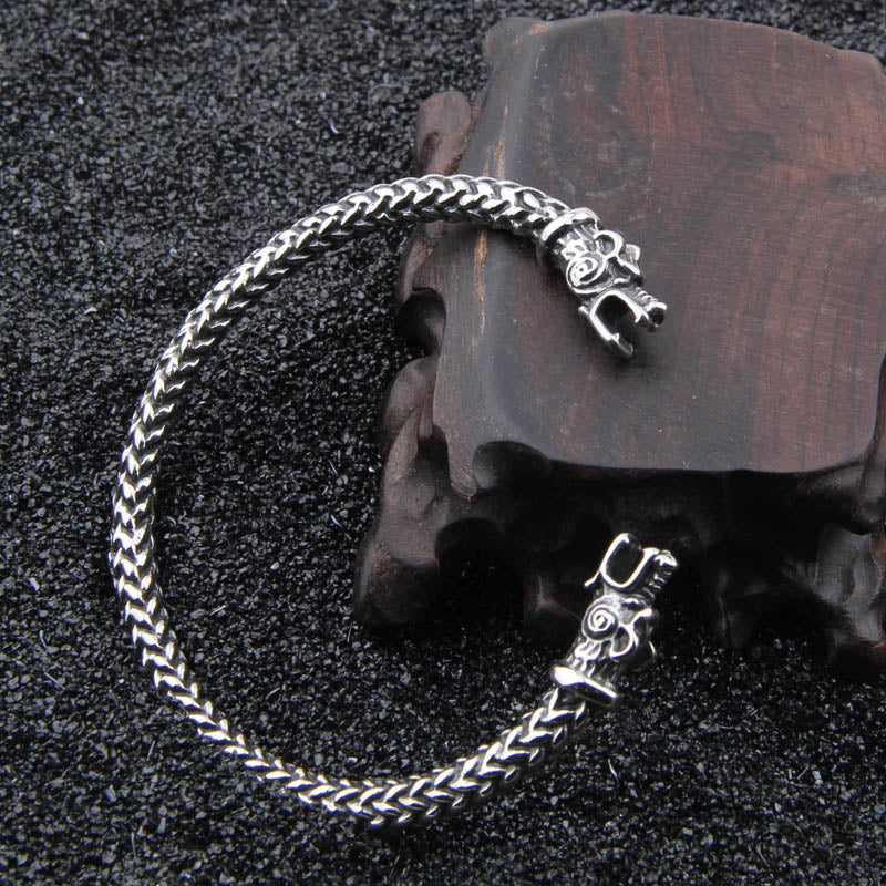Wolf Bracelet - Sterling Silver-Viking Caulking