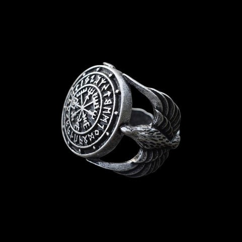 Vegvisir and Runes Ring - Sterling Silver