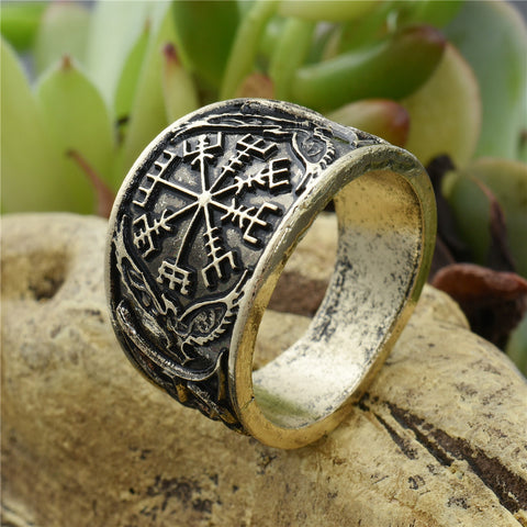 Wide Viking Compass Ring