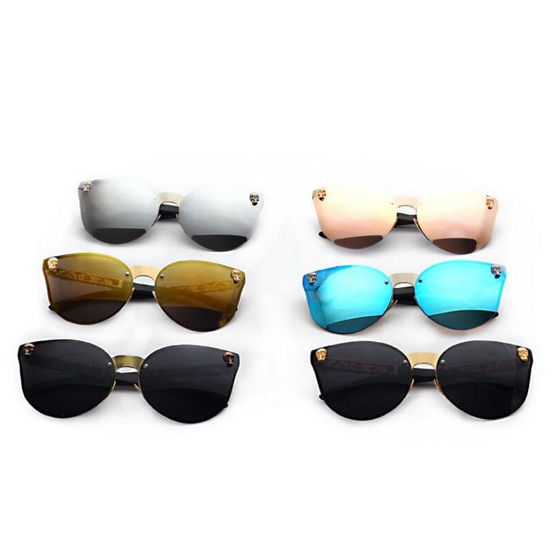 Rimless Skull Cat Eye Women Sunglasses