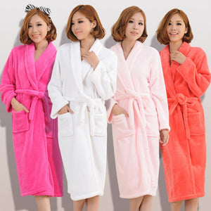 Plush Fleece Bathrobe for Men and Women