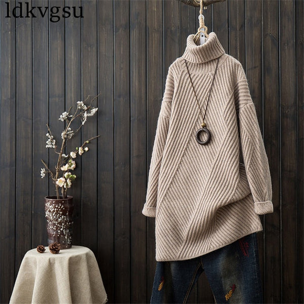 High Collar Loose Sweater Dress