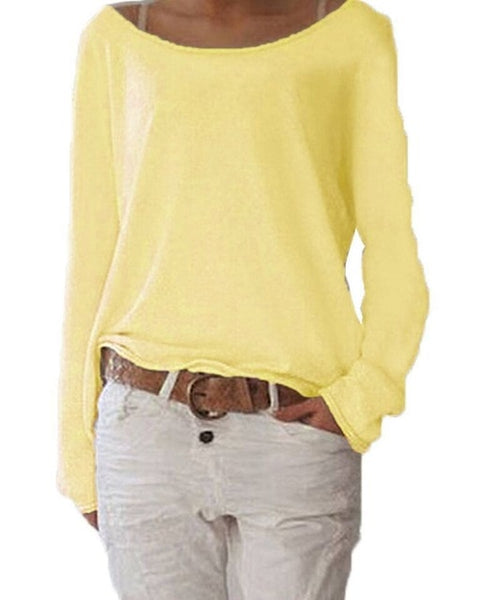 Long Sleeve Loose Top In Eight Colors