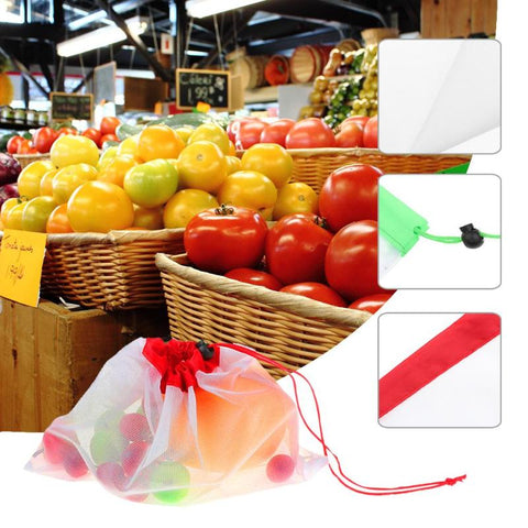 12 Pcs Reusable Eco Friendly Mesh Produce Bags