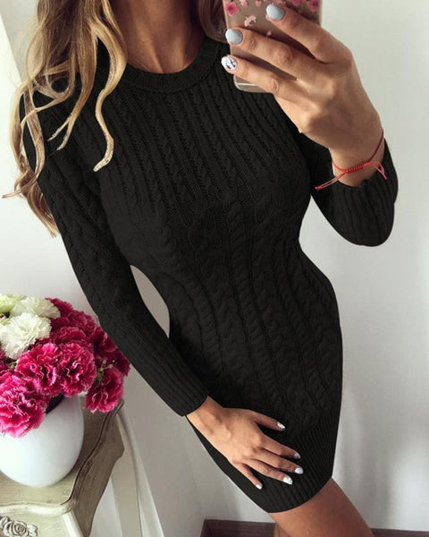 Warm Knitted Sweater Dress