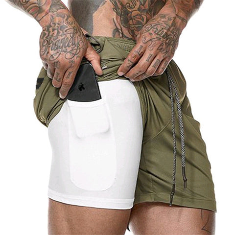 Men Shorts With Hidden Mobile Phone Pocket Inside