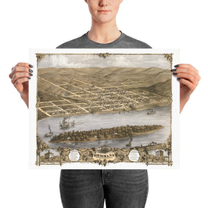 Bird's Eye View of Hermann 1869 Poster