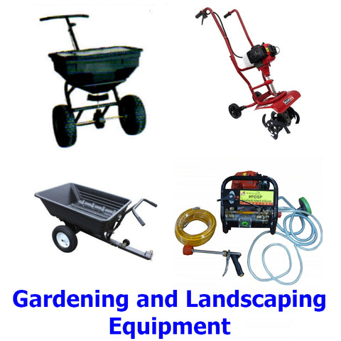 Gardening and Landscaping Equipment. A quality range of mowers, tillers, carts, spreaders, sprayers, lawn sweepers, etc. designed for the professional and home gardener or landscaper.