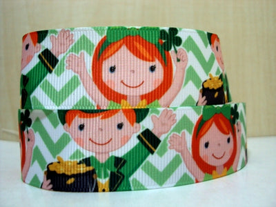 "1""(25mm) st patricks day high quality printed polyester ribbon 10 yards,DIY handmade materials,wedding gift wrap,10Yc358"