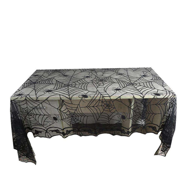 1 Pcs Lace Black Spider Web Halloween Tablecloth Tablecover Rectangle 240*120 cm Halloween  Decoration  Decor Props