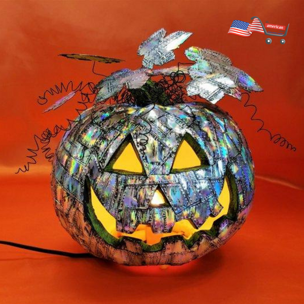 Holographic Steampunk Lighted  Pumpkin Made Up of Grunge Riveted Metal  for Interior Decoration