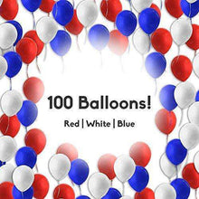 "12"" 3.2 Helium Quality Pearl Latex Patriotic Balloons For Your 4th Of July Party, Memorial Day, Independence Day, Labor Day,Election Day And Other Party Decoration- Red White And Blue- 100 Pack."