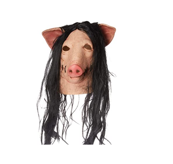 1PC Saw Pig Head Scary Masks Novelty Halloween Mask With Hair Halloween Mask Scary Cosplay Costume Latex Holiday Supplies