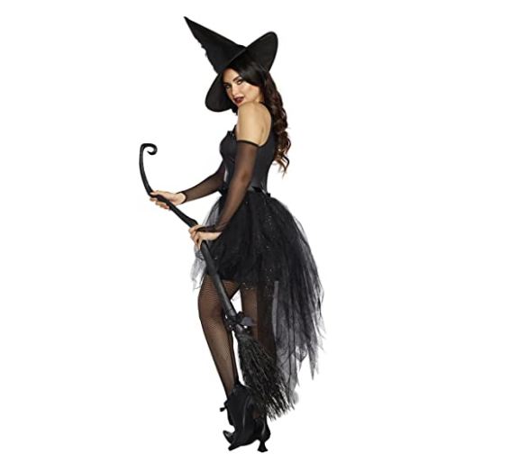 Adult Halloween Witch Costume For Women Sexy Fashion Deluxe Costume Evil Witch Dress With Black Witch Hat Carnival Party Costume