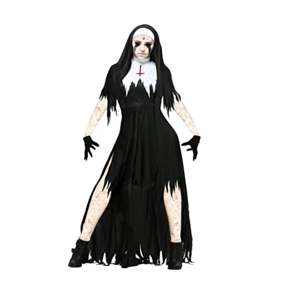 Halloween Nun Cosplay Costume Women Black Vampire Fantasy Dress Terror Sister Party Disguise Female Fancy For Adults