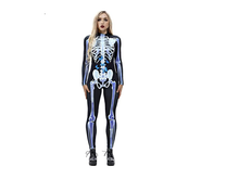 2018 New Women Sexy Bodysuits Halloween Costumes For Women 3D Skull Rose Printing Jumpsuits Punky Back Zipper Macacao Feminino