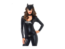 Cat Jumpsuit New Black Halloween Costume For Women Ladies Cat Sexy Faux Leather Catsuit Hood Disfraz Mujer