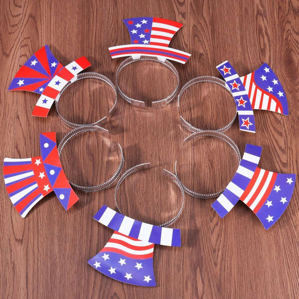 12PCS Independence Day July 4th American Flag Aluminum Foil Headband Party Accessories