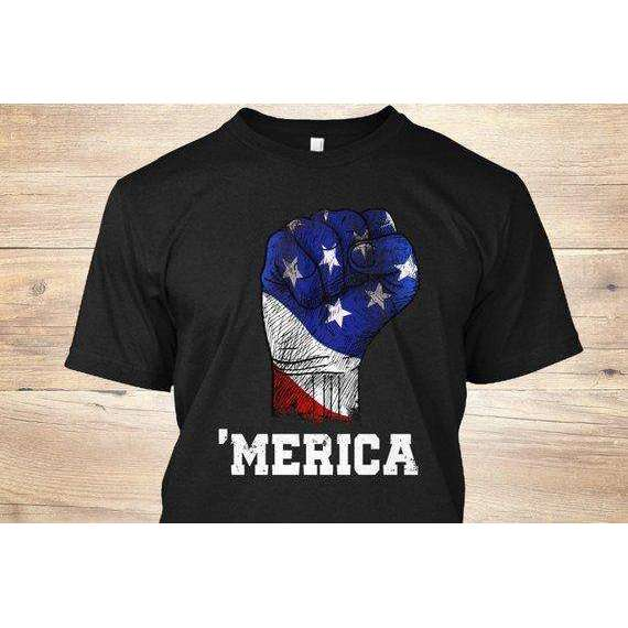America Fist American Flag T Shirt 4th July Independence Day - Memorial Day Shirt - Labor Day - Presidents day -  Vintage USA Flag - Patriot