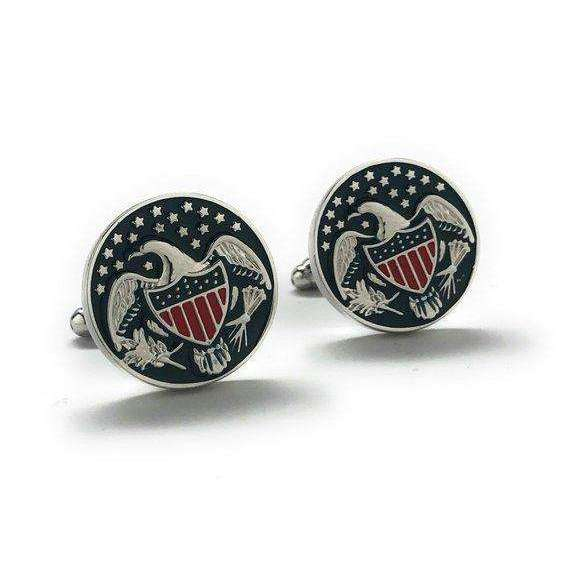 America the Beautiful Cufflinks Silver Tone Red Blue Enamel America United States Cuff Links Comes with Gift Box