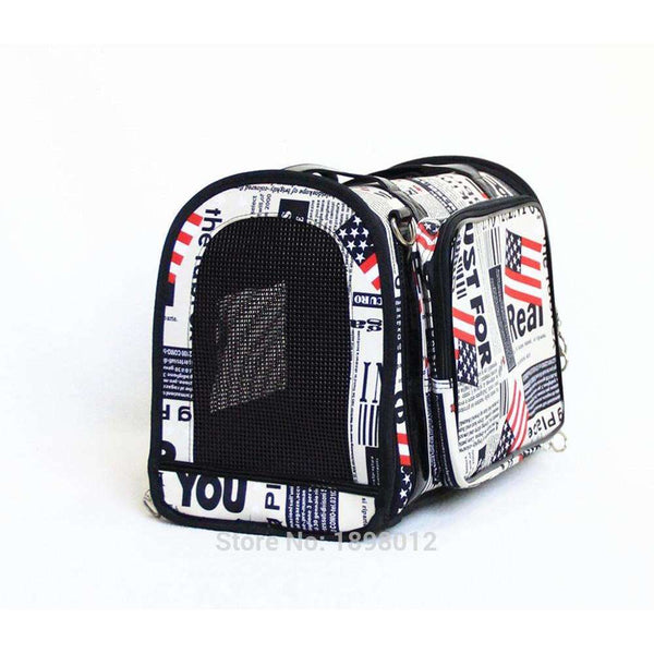 American Black Pet Dog Carrier Tote Small Dog Airline Approved Travel Carrier Handbag with Newspaper Printing Wholesale