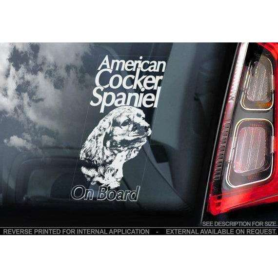 American Cocker Spaniel on Board - Car Window Sticker - Dog Sign Decal Gift -V01