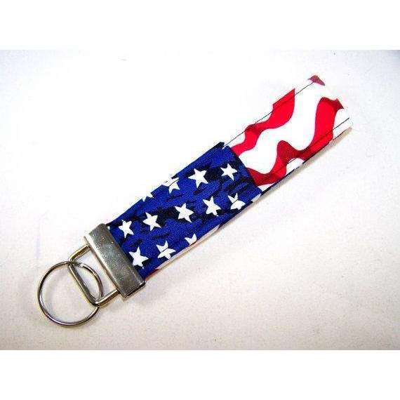 AMERICAN FLAG / Fourth of July Fabric Key Fob / Patriotic Key Chain / USA Flag Gift / 4th of July Accessory / Teacher Gift / Ready to Ship